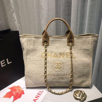 Chanel Deauville Tote 38cm Canvas Bag Spring/Summer 2019 Collection, Beige/White/Multi