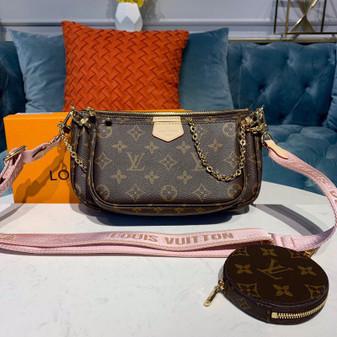 Louis Vuitton Multi Pochette Accessoires Bags Monogram Canvas Fall/Winter 2019 Collection M44840, Rose Clair