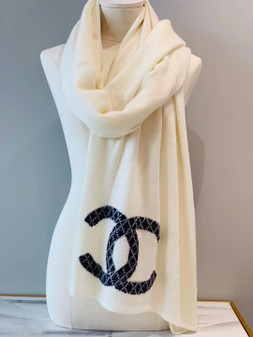 Chanel Cashmere Scarf 200cm Fall/Winter 2019 Collection, Creme/Black