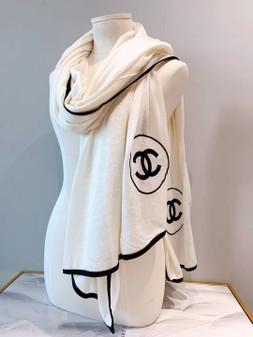 Chanel CC Logo Cashmere Scarf 200cm Fall/Winter 2019 Collection, White/Black