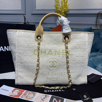 Chanel Deauville Tote 38cm Tweed Bag Spring/Summer 2020 Collection, Cream/Beige