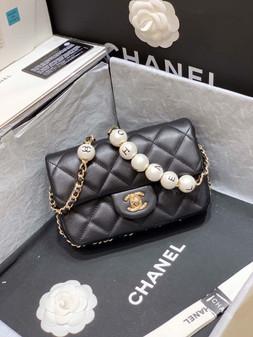 Chanel Flap Pearl Embellished Bag 18cm Gold Hardware Lambskin Leather Spring/Summer 2020 Collection,  Black