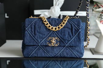 Chanel 19 Flap Bag 26cm Goatskin Leather Spring/Summer 2020 Act 1 Collection, Blue Jean