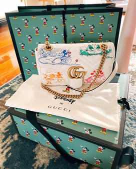 Gucci x Disney Mickey & Minnie Marmont Shoulder Bag 26cm 443497 Calfskin Leather Spring/Summer 2020 Collection, White
