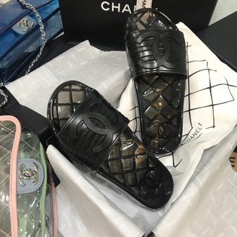 Chanel Glossy Transparent CC Logo PVC Pool Mules/Slides Spring/Summer 2020 Collection, Black