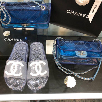 Chanel Glossy Transparent CC Logo PVC Pool Mules/Slides Spring/Summer 2020 Collection, Clear