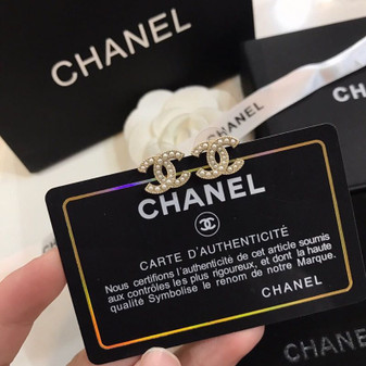 Chanel CC Logo Pearl Embellished Stud Earrings 97371 Spring/Summer 2020 Collection, Gold
