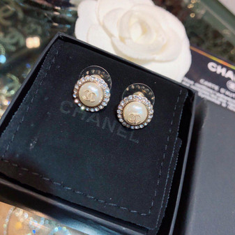 Chanel CC Logo Rhinestone Embellished Stud Earrings 97375 Spring/Summer 2020 Collection, Gold