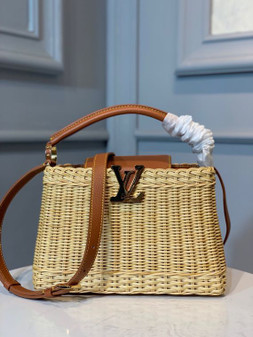 Louis Vuitton Wicker Capucines Bag 28cm Taurillon Leather Spring/Summer 2020 Collection M55011, Tan