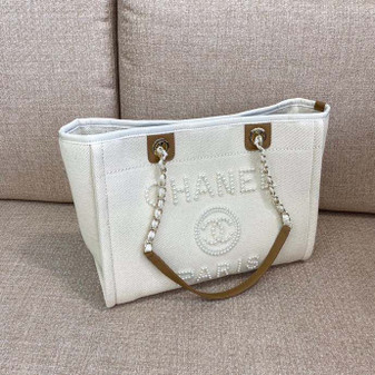 Chanel Deauville Tote 35cm Tweed Bag with Pearl Embroidery Spring/Summer 2020 Collection, Cream/Beige