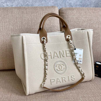 Chanel Deauville Tote 40cm Tweed Bag with Pearl Embroidery Spring/Summer 2020 Collection, Cream/Beige