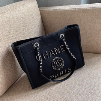Chanel Deauville Tote 35cm Tweed Bag with Pearl Embroidery Spring/Summer 2020 Collection, Black