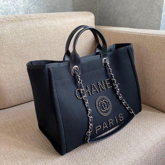 Chanel Deauville Tote 40cm Tweed Bag with Pearl Embroidery Spring/Summer 2020 Collection, Black