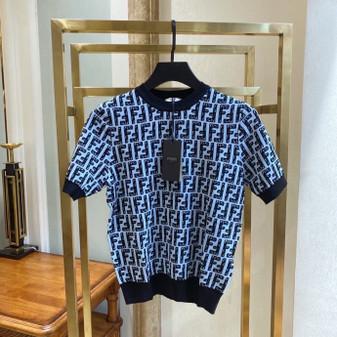 Fendi Short Sleeved Cotton Wool Blend Shirt Fall/Winter 2020 Collection, Blue/Black