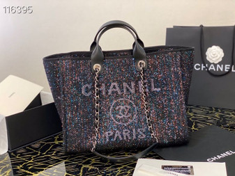 Chanel Deauville Tote 40cm Tweed Bag with Sequin Embroidery Spring/Summer 2020 Collection, Black