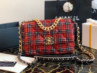 Chanel Tweed 19 Flap Bag 26cm Goatskin Leather Spring/Summer 2020 Collection, Red
