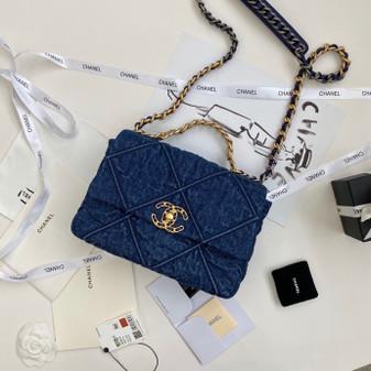 Chanel 19 Flap Bag 26cm Denim/Goatskin Leather Spring/Summer 2020 Collection, Dark Blue