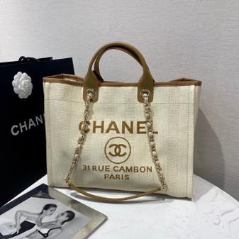 Chanel Deauville Tote 40cm Raffia Straw Canvas Bag Spring/Summer 2020 Collection, Tan/Cream