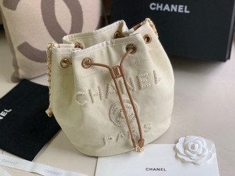 Chanel Deauville Drawstring Bag 35cm Canvas Bag with Pearl Embroidery Spring/Summer 2020 Collection, Cream/Beige