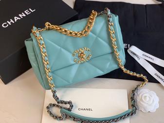 Chanel 19 Flap Bag Goatskin Leather Spring/Summer 2020 Collection, Mint Blue