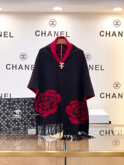 Chanel Vintage Camelia Cashmere Cape Shawl/Cape Fall/Winter 2020 Collection, Black/Red
