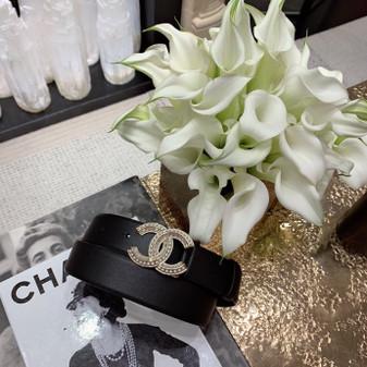 Chanel Rhinestone CC Logo Belt Spring/Summer 2020 Collection, Black