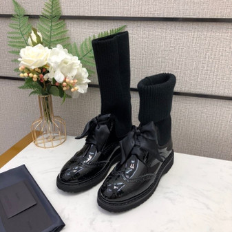 Prada Knit Boots Calfskin Leather Fall/Winter 2020 Collection,  Black