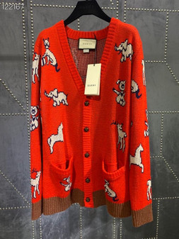 Gucci Hawaii Wool Cotton Cardigan Fall/Winter 2020 Collection, Red