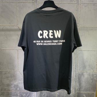 Balenciaga Crew Logo Oversized Cotton T-Shirt Fall/Winter 2020 Collection, Black