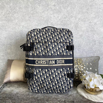 Christian Dior Oblique Travel Trolley Bag 46cm Embroidered Canvas Fall/Winter 2020 Collection, Blue/White