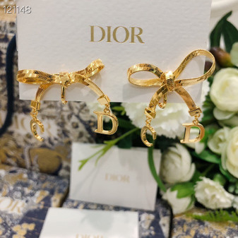 Christian Dior Bow Stud Earrings Spring/Summer 2020 Collection 121148, Gold