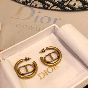 Christian Dior CD Small Hoop Earrings Spring/Summer 2020 Collection 121148, Gold