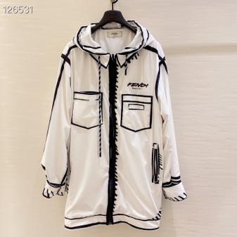 Fendi x California Sky Lightweight Nylon Windbreaker Jacket Fall/Winter 2020 Collection, White/Black