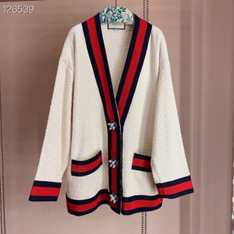 Gucci Oversized Tweed Cardigan Jacket Fall/Winter 2020 Collection, White/Black