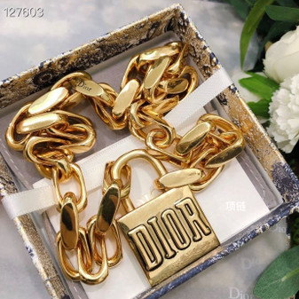 Christian Dior Padlock Necklace Fall/Winter 2020 Collection 136128, Gold