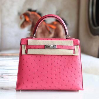 Hermes Kelly Bag 25cm Palladium Hardware Autruche Ostrich Skin Fully Handstitched, Rose Tyrien E5