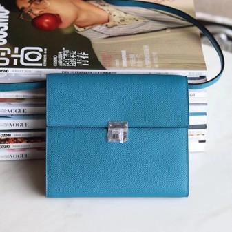 Hermes Clic Mini Bag 16cm Palladium Hardware Epsom Leather Fully Handstitched, Vert Bosphore W0