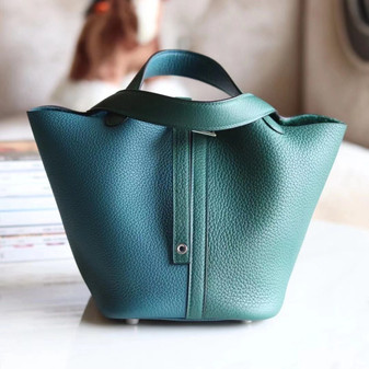 Hermes Bi-Color Bolide Bag 18cm Palladium Hardware Clemence Leather Fully Handstitched , Malachite Z6/Vert Bosphore W0