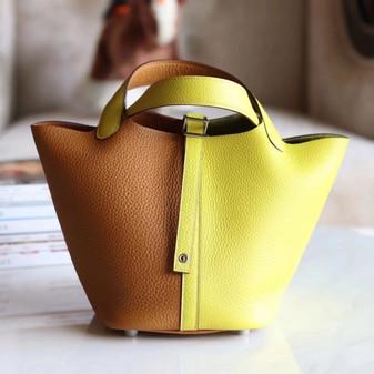 Hermes Bi-Color Bolide Bag 18cm Palladium Hardware Clemence Leather Fully Handstitched , Sesame 2S/Lime 9R
