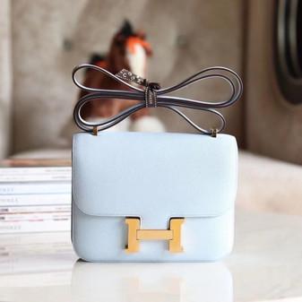 Hermes Constance 19cm Bag Gold Hardware Epsom Leather Fully Handstitched, Blue Brume T0