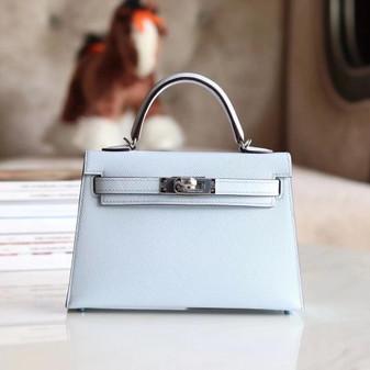 Hermes Mini Kelly 2 19cm Bag Palladium Hardware Epsom Leather Fully Handstitched, Blue Brume T0