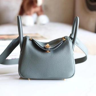 Hermes Mini Lindy Bag Gold Hardware Clemence Leather Fully Handstitched , Vert Amande CK63