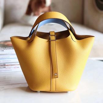 Hermes Bi-Color Bolide Bag 18cm Palladium Hardware Clemence Leather Fully Handstitched , Ambre 9D/Celeste 7N