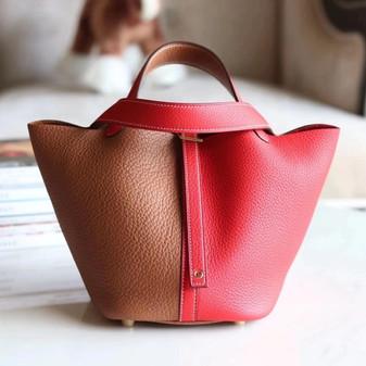 Hermes Bi-ColorBolide Bag 18cm Palladium Hardware Clemence Leather Fully Handstitched , Sesame S2/Rose De Course S3