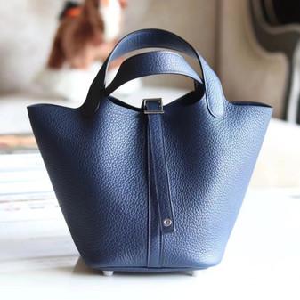 Hermes Bi-Color Bolide Bag 18cm Palladium Hardware Clemence Leather Fully Handstitched , Blue Sapphire CK73