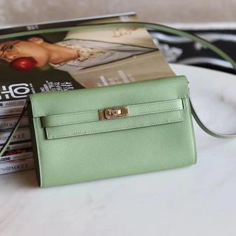 Hermes Bi-Color Kelly To Go Bag 20cm Gold Hardware Epsom Leather Fully Handstitched, Vert Criquet 3I/Blue Brume T0