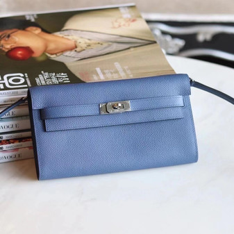 Hermes Kelly To Go Bag 20cm Palladium Hardware Epsom Leather Fully Handstitched, Blue Agate R2
