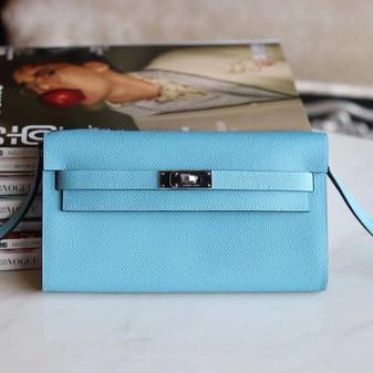 Hermes Kelly To Go Bag 20cm Palladium Hardware Epsom Leather Fully Handstitched, Blue De Nord P3