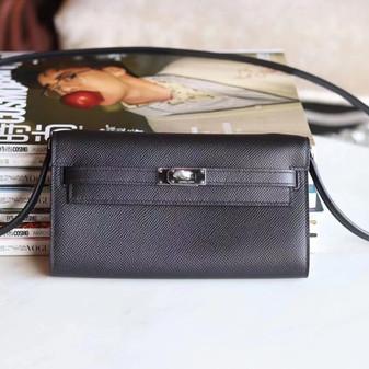Hermes Kelly To Go Bag 20cm Gold Hardware Palladium Leather Fully Handstitched, Noir CK89