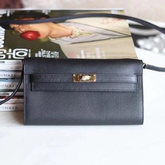 Hermes Kelly To Go Bag 20cm Gold Hardware Gold Leather Fully Handstitched, Noir CK89